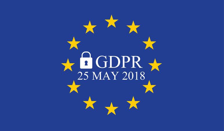 Napis GDPR na tle falgi unii europejskiej